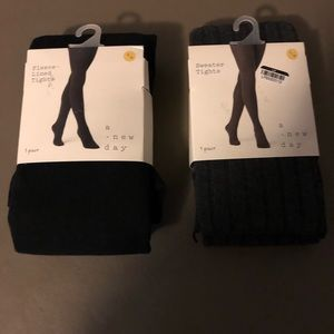 two Pair A New Day Sweater/Fleece Lined Tights New